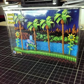 Sonic the Hedgehog - SEGA - Papercraft Diorama by retroberra