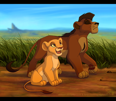Hey, Mister! - Kiara and Kovu by EmilyJayOwens