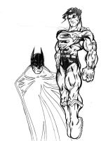 super man and bats by jamce
