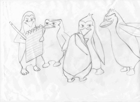 the penguins and oc by Shadowphoenixbeast