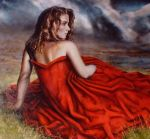 Woman in red dress by AEnigm4