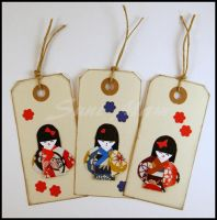 Little Japanese Doll  Origami  Manilla Tag  Kawaii by SuniMam