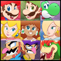 Mario Cast In Icons by faster-by-choice