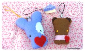 Felt Mobile Phone Straps by raspberrydonkey