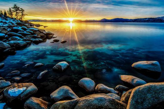 February Tahoe Evening Along the East Shore by sellsworth