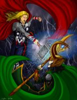 Thor and Loki - Clashing Storm by MaverickTears