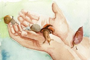 snail hand by mountainlaurelarts