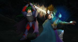 Damien and Tydon Battle Foes by MeMiMouse