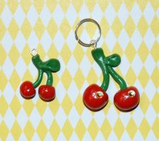 Polymer Cherry Charms by DeliaTheArtist