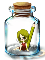 Chibi in a Bottle by DarkyCakeDoodles