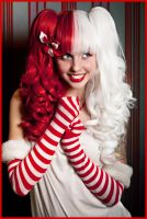 Alexa - Split Red and White by GothicLolitaWigs