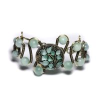 Amazonite Bracelet Teal Flower by CatherinetteRings