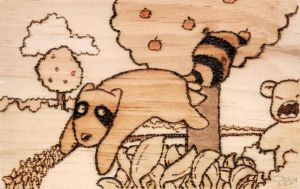 Raccoon in Wood by masonmouse