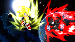 Birthday Gift - Super Sonic vs. Dark Shadow by KingAsylus91
