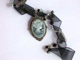Black Organza-Pearls Necklace by Aranwen
