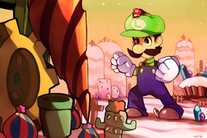 Giant Luigi vs Drilldigger by redricewine