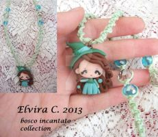 Green witch macrame necklace by elvira-creations