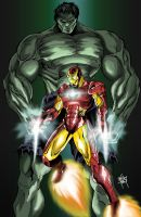 Hulk Iron Man Team by One-Beyond