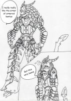 Sketch: DrakoniaWar trying on armor kantus by Drakoniawar