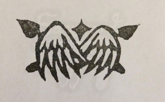Winged Crest - Rubber stamp by kiera-oona
