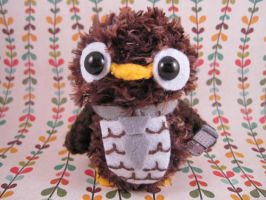 Brown Business Owl with Phone by AmiTownCreatures