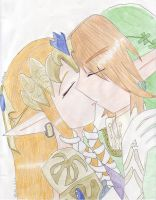 Zelda and Link kiss by Dialirvi