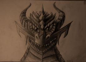 Dragon headshot frontview Pencil by Vapolord