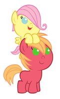 Fwuttershy and Baby Macintosh by 3D4D