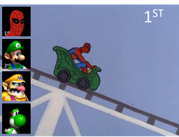 Spiderman rules at Mario Kart by onyxcarmine