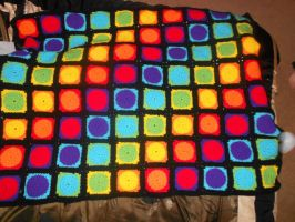 Colorful Granny Square Afghan by PiNiKoLi