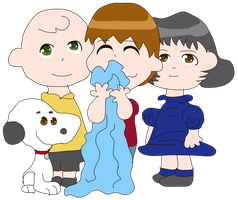 Peanuts the Anime: Charlie, Linus, Snoopy and Lucy by Chibifangirl01