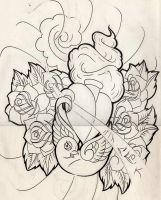 lines birdy heart roses by WillemXSM