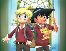 Clemont and Ash School AU by Opallene