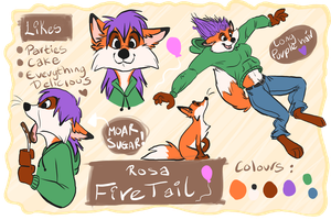 Rosa Firetail : Ref Sheet by HighlandBilby