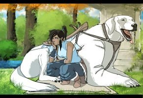 Korra and Naga by ManBean
