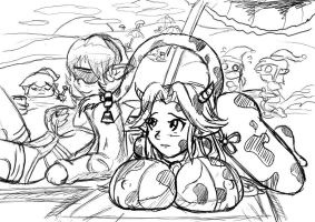 Saria and Malon at the beach. by jimsugomi