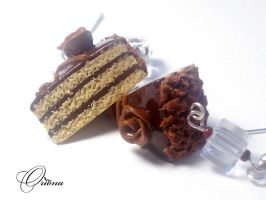 Earrings Chocolate Cake 2 by OrionaJewelry