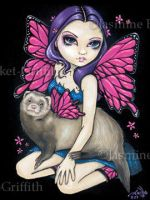 Ferret with Butterfly Wings by jasminetoad