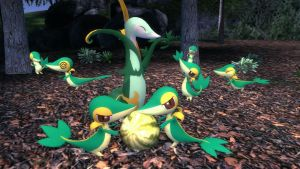 Serperior and Snivy family by Snivy116
