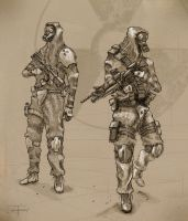 Gas Mask Soldiers by zakforeman