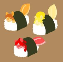 P and C Sushi Friends by CookingPeach