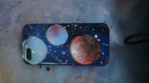 spray paint art: space painting on a iphone cover by abtheartist