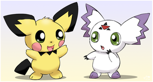 Pichu and Calumon by pichu90