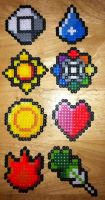 Perler Pokemon Kanto Badges by Viverra1