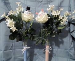 Wedding Bunny Bouquets by AmiTownCreatures