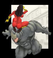 Spider Woman Battles Rhino by selkirk (COLORS) by carol-colors