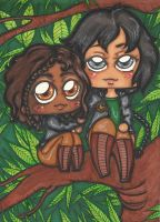 HG Katniss and Rue on the tree by Shinku-chan