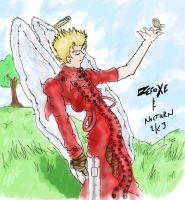 Vash with Angel Wings fer Noc by zefoxe