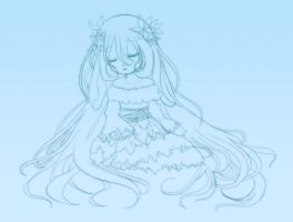 Old lineart: sleeping Aria by Laudine