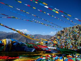 Tibet Prayer Flags by hardwayjackson